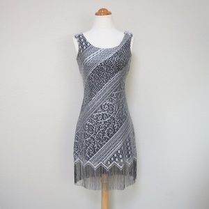 Vintage 1920s Style Dress Silver Lace Flapper 30s
